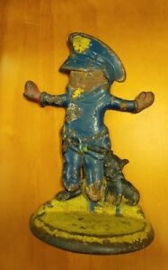 Antique Usa Police Boy Badge Whistle Dog Cast Iron Statue Doorstop Hubley Toy