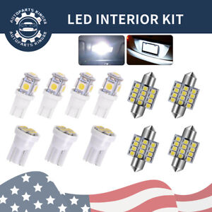11x White Led Interior Package Kit Map Dome License Plate Light T10
