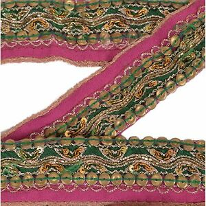 Vintage Sari Border Antique Hand Beaded Indian Trim D Cor Ribbon Pink Lace