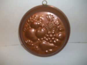 Antique Heavy Copper Tin Lined Jelly Aspic Fruit Cake Jello Mold Wall Decor Chic
