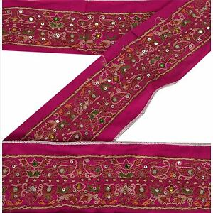 Vintage Sari Border Antique Hand Beaded Indian Trim Sewing Pink Lace