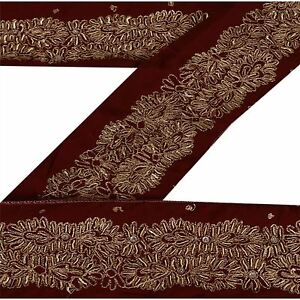 Vintage Sari Border Antique Hand Beaded Indian Trim Sewing Maroon Lace