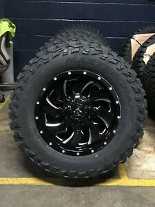 4 18 D574 Fuel Cleaver Black Wheels 33 Mt Tires Package 8x180 Chevy Gmc 8 Lug