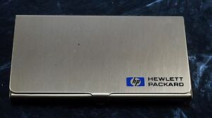 Rare hewitt Packard Gold Plated Brass Logo Business credit Card Holder Case