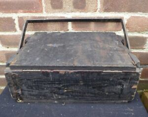 Vintage Industrial Wooden Box Metal Handle Tool Storage Cabinet Chest