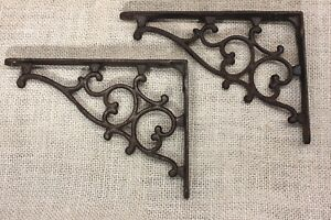 2 Shelf Support Brackets 4 X 6 Old 1880 S Vintage Rustic Cast Iron Hearts