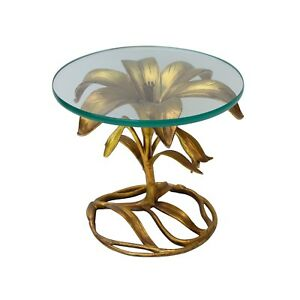 Gilt Lily Side Table By Arthur Court Hollywood Regency Cast Alumin