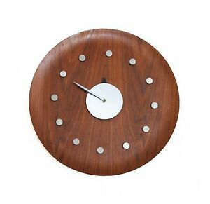 Vintage George Nelson 18 Walnut Bentwood Tray Clock Howard Miller Herman Miller