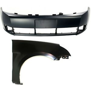 Bumper Cover Kit For 2008 2011 Ford Focus Front 2pc Primed With Fender