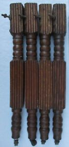 4 Fluted Antique Victorian Oak Dining Table Legs W Casters
