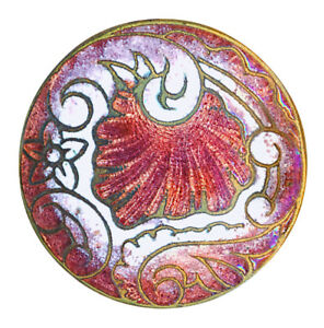 Button Late 19th C Rococo Rocaille Champleve Enamel In Rose And White