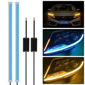 2x Flexible 60cm Led Turn Signal Light Strip Drl Ice Blue Amber Lights Ld1848