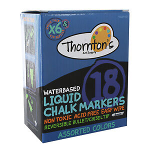 Thornton s Art Supply Liquid Chalk Markers With Reversible Tips Assorted Colors