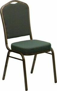 10 Pack Banquet Chair Green Patterned Fabric Restaurant Chair Crown Back Stack