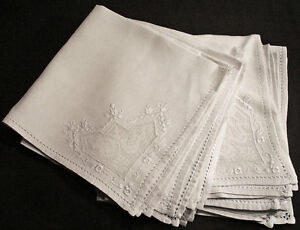 Vintage Linen Embroidered Dinner Napkins Set Of 12 Filet With Embroidery 21 1 4