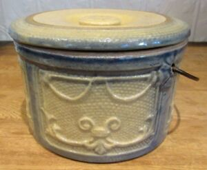 Antique Stoneware Slate Blue And Tan Draped Windows Pastry Crock With Lid
