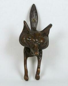 Antique Bronze Fox Door Knocker Large 9 3 4 X 4 Circa 1850 1899