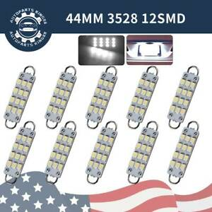 10x Super White 44mm 12smd Festoon Led Rigid Loop Dome Map Interior Light Bulbs