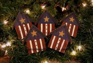 5 Primitive Americana Flag 4th Of July Birdhouse Wood Ornies Ornaments