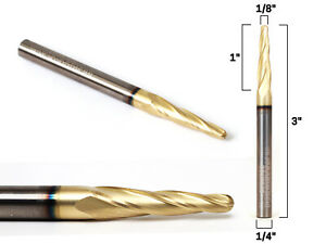 1 8 Tapered Ballnose Zrn Coated Cnc Router Bit 1 4 Shank Yonico 37413 sc