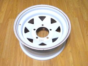 Nos Rocket Trailduster White Steel Wheel Rim 15x7 5x5 1 2 1970s Jeep Ford Truck
