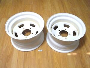 2 Nos Indy Style Slotted White Steel Wheels 15x8 5 5 1 2 Ford Jeep Ihc Mopar