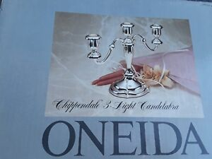 Vintage Oneida Silver Plate 3 Arm Candelabra Candlestick Candle Holder 9 5 Tall