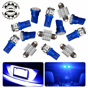 13x Pure Blue Led Interior Package Kit Map Dome Lights T10 30mm Festoon Bulbs