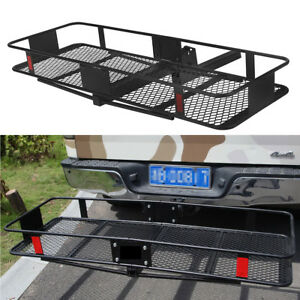 60 Folding Luggage Basket Cargo Carrier Hauler Hitch Mounted Receiver 500lbs