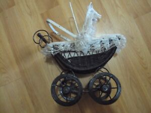 Antique Childs Toy Doll Baby Carriage Wicker Wood And Metal