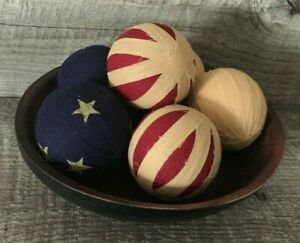 Primitive Country Americana 2 5 Inch Rag Balls Bowl Filler Red Tan Blue