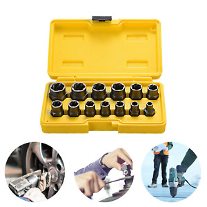 Bolt Nut Remover Stud Extractor Socket Impact Set Damaged Rusted Tools 13 Pcs