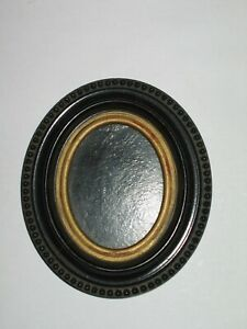 Antique Civil War Era Dated 1855 Gutta Percha Mini Oval Photo Frame Bead Edge