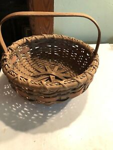 Early New England Antique Primitive Basket Original Stamping Columbia County Ny