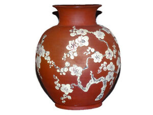 Vintage Old Chinese Yixing Pottery Vase Jar Flower 8 66 Inches Height Marked 20c