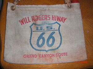 Vtg Canvas Water Bag Will Rogers Hiway Route 66 Hot Rat Rod Chevrolet Dodge Ford