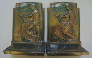 1925 Antique Rare Deco Bookends Pompeian Meditation Color Details Rarity 4