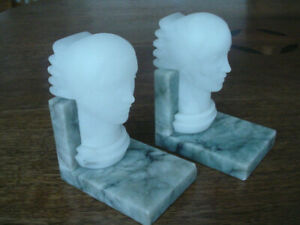 Antique Vintage Art Deco Marble Alabaster Lady Head Book Ends Italy