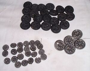 49 Exquisite Antique Victorian Black Glass Button Silver Lustered Brass Shanked