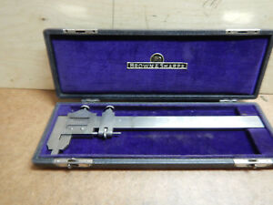 Vintage Small Brown And Sharpe Vernier Caliper In Case Machinist Tool