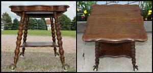 Carved Quartersawn Oak Parlor Lamp Table Huge Glass Ball Eagle Clawfoot Antique