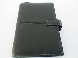 Filofax Organiser Finchley Personal Size Black Deluxe Leather Some Inserts