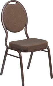 10 Pack Banquet Chair Brown Patterned Fabric Restaurant Chair Teardrop Stacking