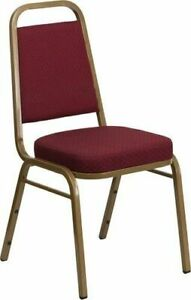 10 Pack Banquet Chair Burgundy Color Fabric Restaurant Chair Trapezoidal Back