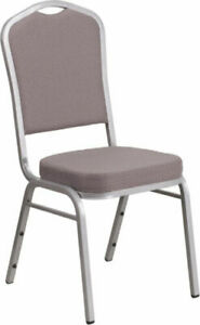 10 Pack Banquet Chair Gray Dot Fabric Restaurant Chair Crown Back Stacking Chair