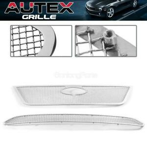 Ss Mesh Grille Grill Combo Insert Main Upper Lower Bumper For Ford Fusion 10 12