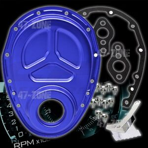 Aluminum Chevy Sb Timing Chain Cover Set roller Cam Blue