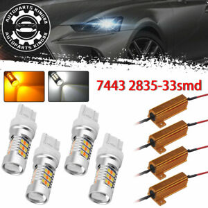 4x 7443 33 Smd White Amber Switchback Led Turn Signal Light Bulbs Resistors