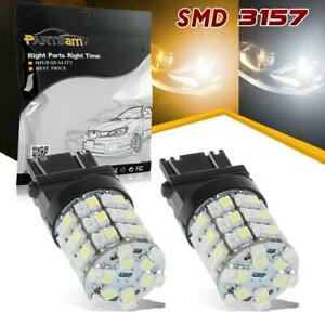 1 Pair Led Switchback Amber White 3157 4157 Bulbs Smd Front Turn Signal Lights