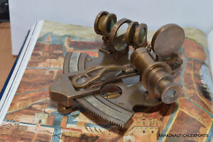 German Antique Brass Marine Sextant 3 Nautical Reproduction Decor Collection